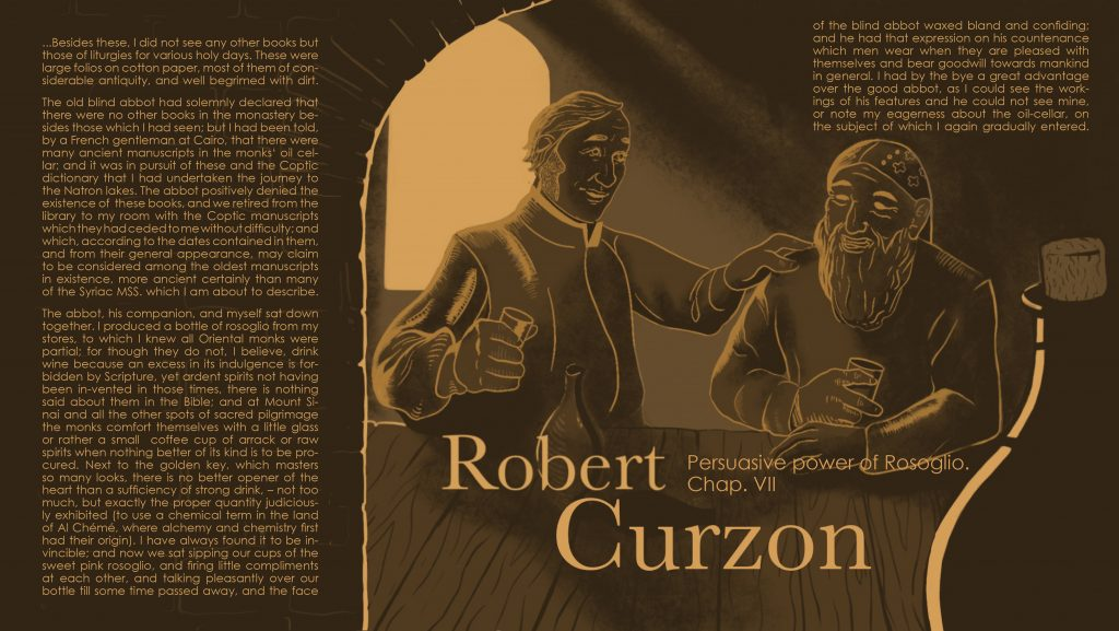 Illustration of Robert Curzon making the blind abbot of the monastery drunk so he would allow him to search for manuscripts in the oil cellar