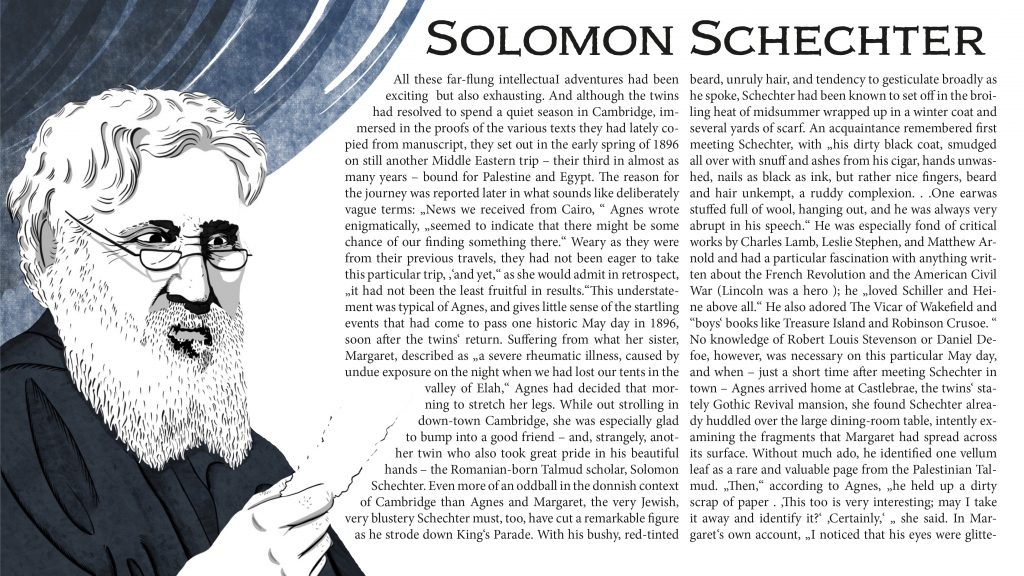 Illustration of Solomon Schechter identifying the Hebrew Ecclesiasticus given to him by Margaret Dunlop Gibson and Agnes Lewis-Smith