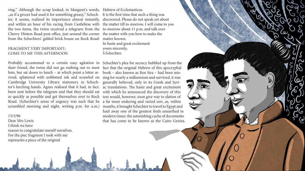 Illustration of Margaret Dunlop Gibson and Agnes Smith-Lewis reading Solomon Schechter's letter