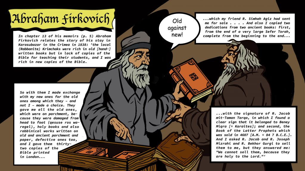 Illustration of Abraham Firkovich trading old manuscripts for new books