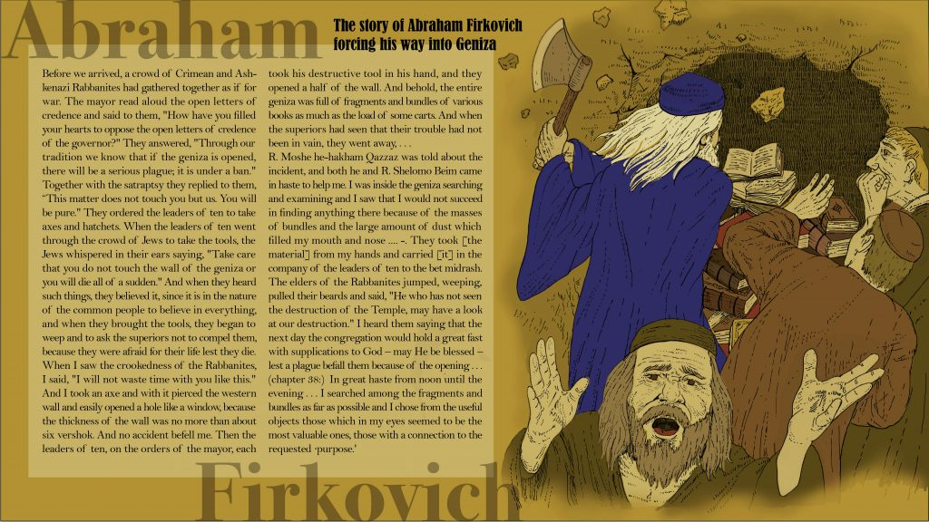 Illustration of Abraham Firkovich forcing his way into the Geniza