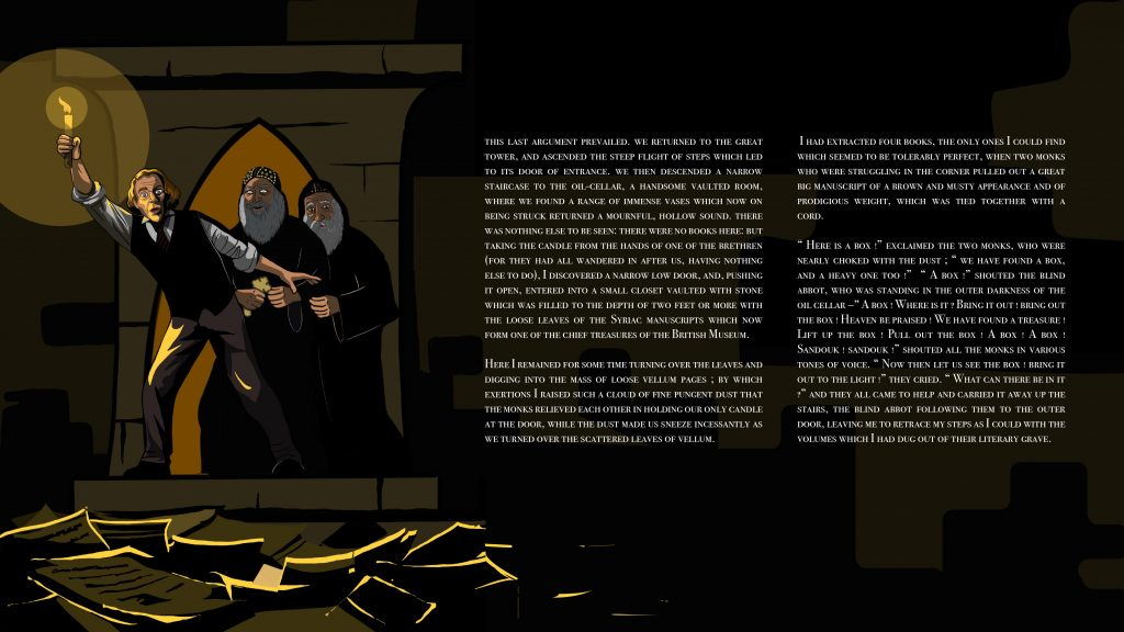 Illustration of Robert Curzon searching the dark oil cellar for manuscripts with the abbot and his monks